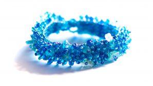 Guate!Guate Volcán blått armband MoM7410-BL, blå, glas, Guatemala, konsthantverk, pärlor, smycke