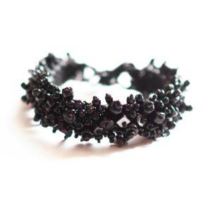 Guate!Guate Volcán svart armband, pärlor, rejält, brett, stenar