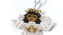 Julgranshänge ängel mörk, Mom655Cm, Guate!Guate, Guatemala, handgjord, hänge, juldekoration, julgran, julpynt, konsthantverk, pärlor, vit, ängel