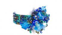 Guate!Guate Volcán blå ring MoM110-BL, Guatemala, konsthantverk, pärlor, smycke, kobolt