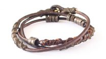 Wakami Elements of Life: Fire Bracelet WA0394, armband, Fair Trade, läder, metall