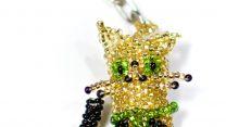 Nyckelring, katt, guld MoM691G, Guate!Guate, Guatemala, handgjord, husdjur, konsthantverk, pärlor