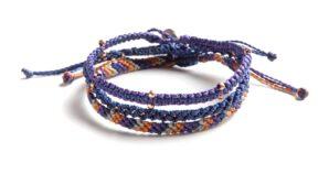 Adventures, armband, blå, Fair Trade, fläta, Guatemala, hantverk, kit, koppar, lila, orange, smycke, tre