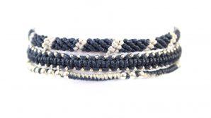 3-pack, armband, Fair Trade, Guatemala, handtillverkat, Masomenos, mörkblå, paket & kombinationer, silver, Wakami