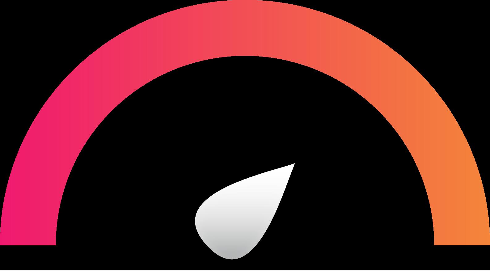 Stiliserad mätare som går från rosa till orange