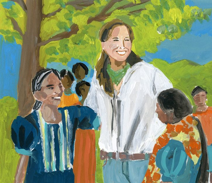 María Pacheco avbildad bland kvinnor på Guatemalas landsbygd