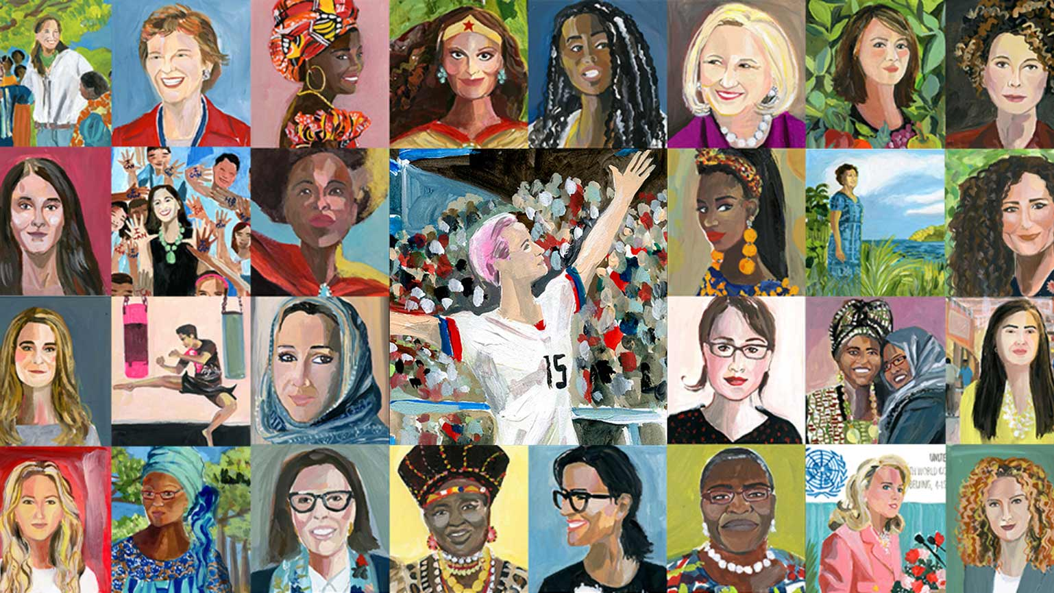 Vital Voices-kollage från bokens porträtt